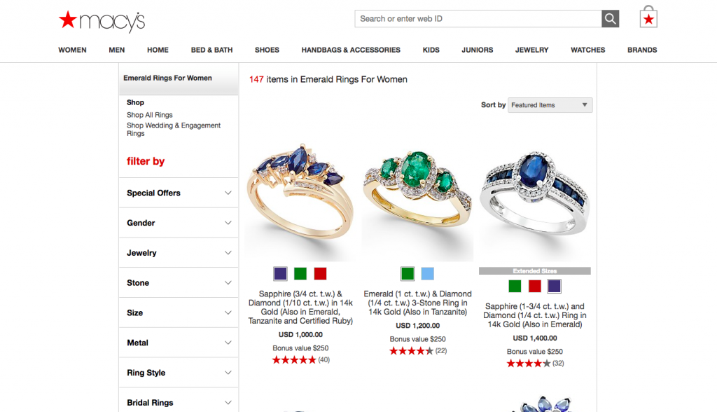 Macys Womens Gold Rings with Emerald