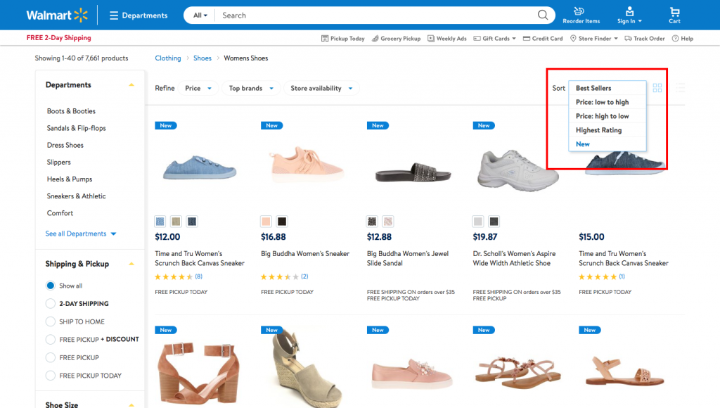 page sort options in eCommerce