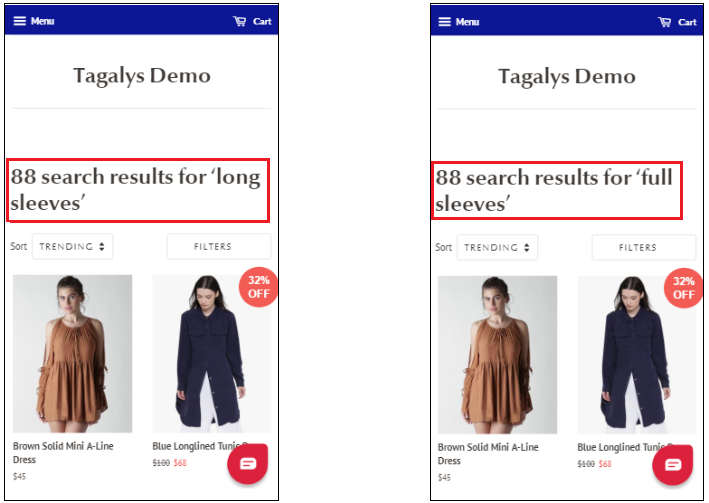 benefits of Synonyms in eCommerce site search