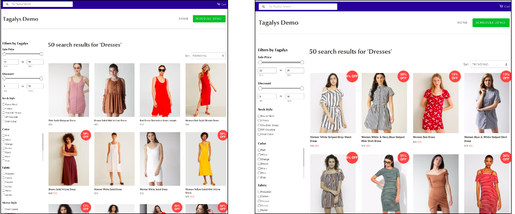personalised site search results in E-Commerce