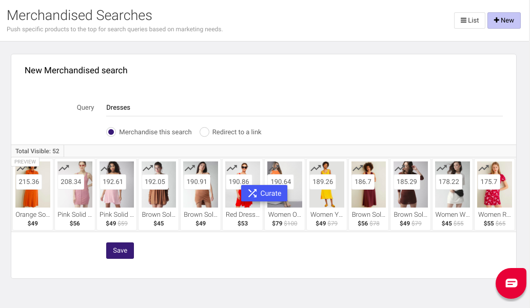 site search results merchandising in eCommerce