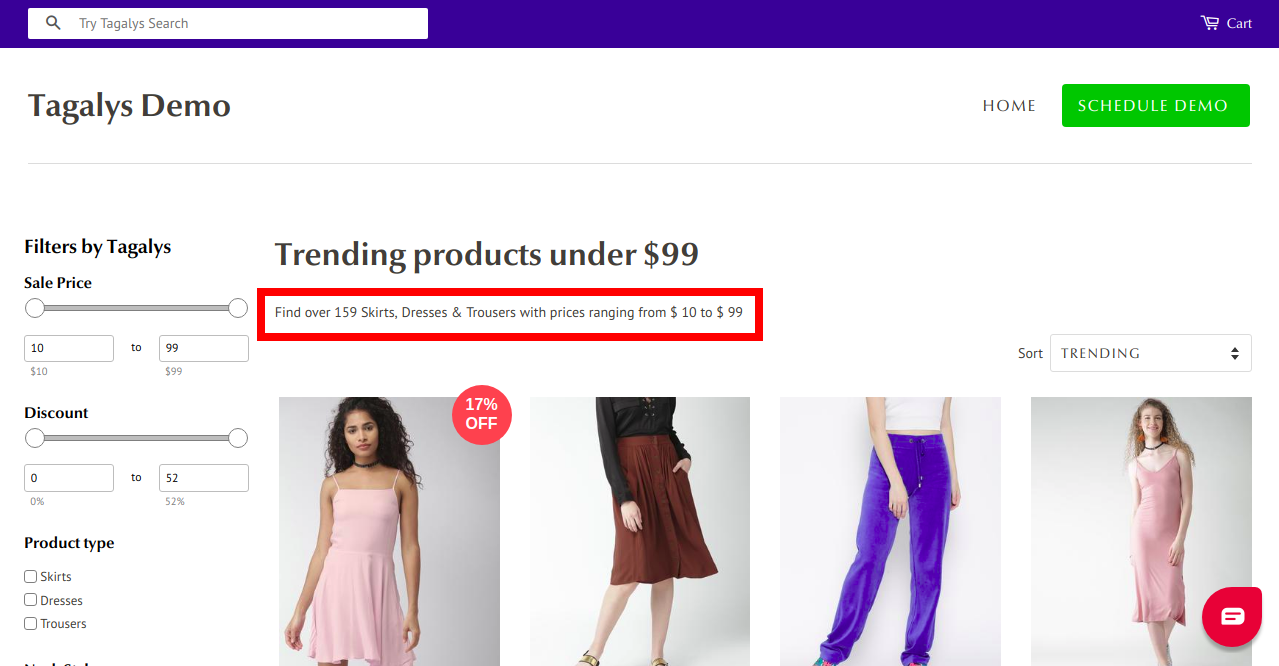 Tagalys Powered Product Listing Pages