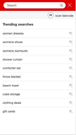 Target Popular searches