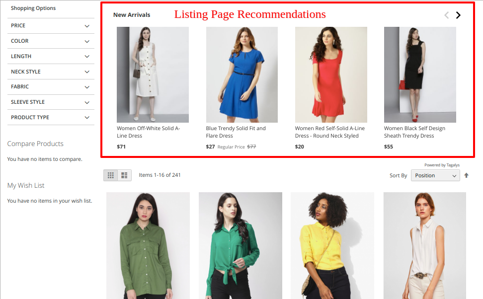 Listing page recommendations
